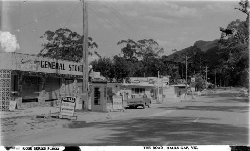 MAIN STREET, HALLS GAP. Image courtesy of the State Library of Victoria,  Image no. H32492/4136 http://handle.slv.vic.gov.au/10381/62227