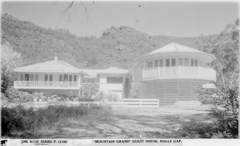 MOUNTAIN GRAND GUEST HOUSE, HALLS GAP.  Image Courtesy of the State Library of Victoria.  Image no. H32492/7789  http://handle.slv.vic.gov.au/10381/60702