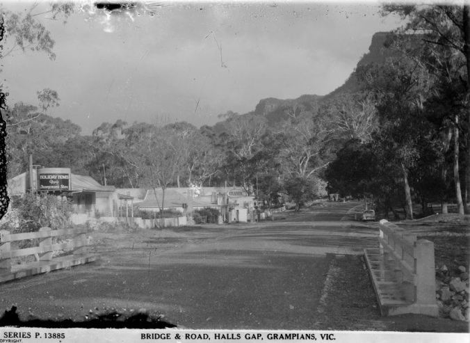 MAIN STREET, HALLS GAP.  Image courtesy of the State Library of Victoria.  Image no,  H32492/8694 http://handle.slv.vic.gov.au/10381/58172
