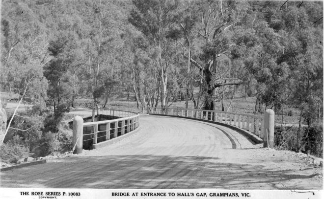 DELLEY'S BRIDGE, HALLS GAP.  Image Courtesy of the State Library of Victoria.  Image no.  H32492/6669 http://handle.slv.vic.gov.au/10381/58616