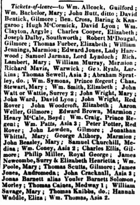 Classified Advertising. (1836, May 20). The Hobart Town Courier (Tas. : 1827 - 1839), p. 1. Retrieved February 24, 2014, from http://nla.gov.au/nla.news-article4176331