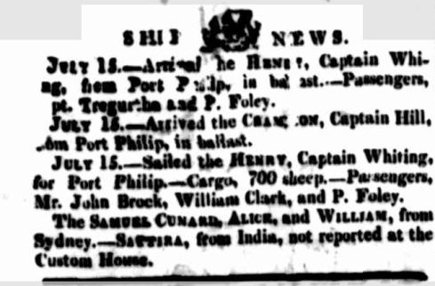 SHIP NEWS. (1836, July 16). The Cornwall Chronicle (Launceston, Tas. : 1835 - 1880), p. 2. Retrieved February 24, 2014, from http://nla.gov.au/nla.news-article65950241