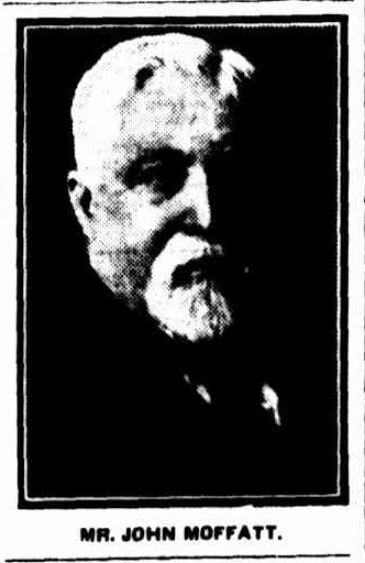 DEATH OF MR. JOHN MOFFATT. (1926, February 10). The Argus (Melbourne, Vic. : 1848 - 1957), p. 21. Retrieved February 28, 2014, from http://nla.gov.au/nla.news-article3733963