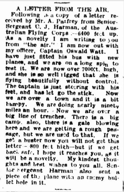 A LETTER FROM THE AIR. (1916, September 14). Hamilton Spectator (Vic. : 1914 - 1918), p. 4. Retrieved March 1, 2014, from http://nla.gov.au/nla.news-article133707498