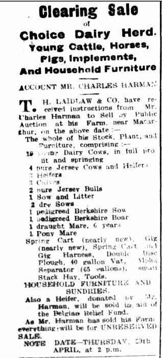 Advertising. (1915, April 20). Hamilton Spectator (Vic. : 1914 - 1918), p. 2. Retrieved March 10, 2014, from http://nla.gov.au/nla.news-article119839929