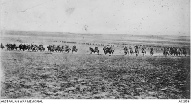 THE CHARGE AT BEERSHEBA. Image courtesy of the Australian WAr Memorial. Image No, A02684 http://www.awm.gov.au/collection/A02684/
