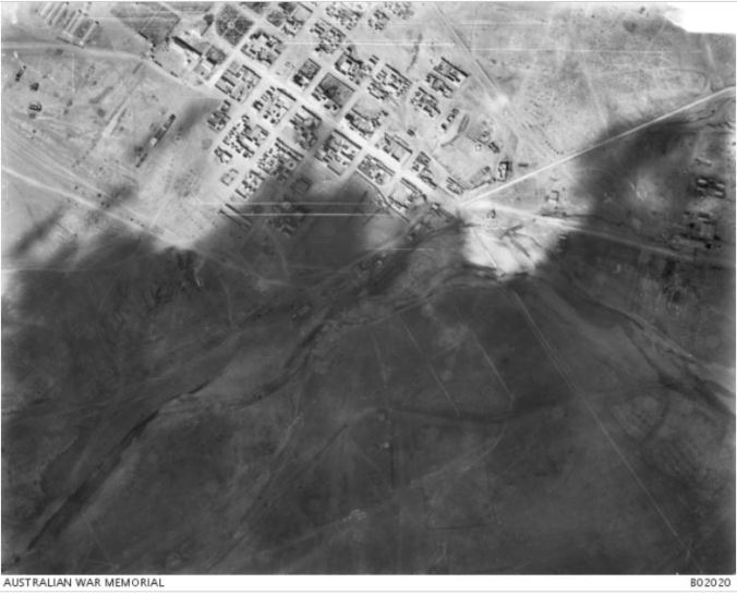 Aireal View of Beersheba taken from the plane of No 1 Squadron AFC. Image courtesy of the Australian War Memorial. Image no. B02020 http://www.awm.gov.au/collection/B02020/