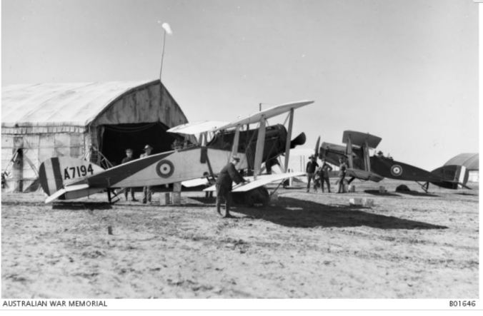 No. 1 Squadron Mechanics at work in Palestine. Image courtesy of the Australian War Memorial. Image no.B01646 http://www.awm.gov.au/collection/B01646/