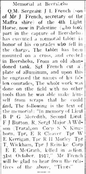 Memorial at Beersheba. (1918, May 14). Gippsland Farmers Journal (Traralgon, Vic. : 1914 - 1918), p. 2. Retrieved April 21, 2014, from http://nla.gov.au/nla.news-article88057978