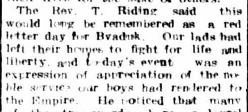 BYADUK AVENUE OF HONOUR. (1918, July 13). Hamilton Spectator (Vic. : 1914 - 1918), p. 8. Retrieved April 22, 2014, from http://nla.gov.au/nla.news-article119504179