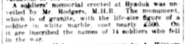 HAMILTON. (1922, June 14). The Argus (Melbourne, Vic. : 1848 - 1957), p. 15. Retrieved April 21, 2014, from http://nla.gov.au/nla.news-article4627391