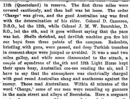 HOW THE LIGHT HORSE FOUGHT IN THE CAPTURE OF BEERSHEBA. (1918, December 5). Camden News (NSW : 1895 - 1954), p. 1. Retrieved April 21, 2014, from http://nla.gov.au/nla.news-article136790912