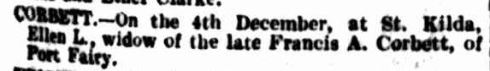 """Family Notices."" The Argus (Melbourne, Vic. : 1848 - 1957) 5 Dec 1908:   ."