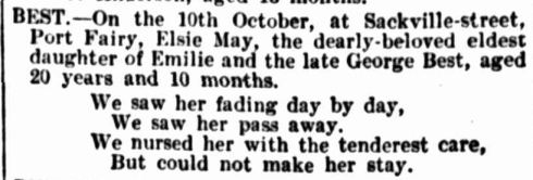 """Family Notices."" The Australasian (Melbourne, Vic. : 1864 - 1946) 23 Oct 1897: 55.  ."