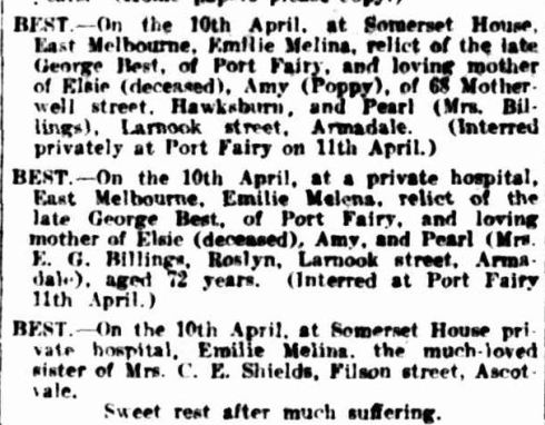 """Family Notices."" The Argus (Melbourne, Vic. : 1848 - 1957) 12 Apr 1924:  ."