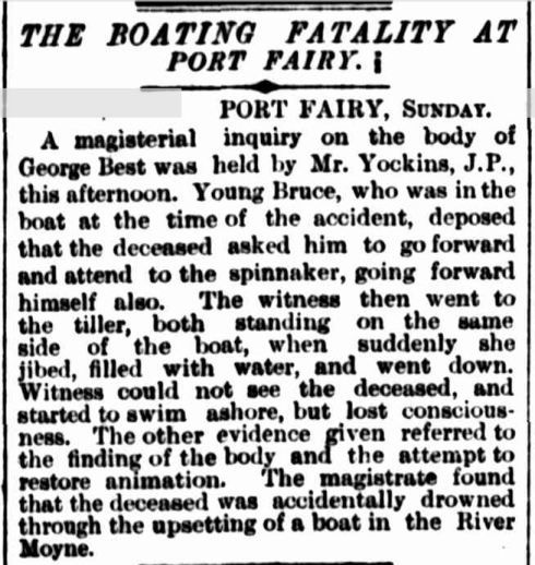 """THE BOATING FATALITY AT PORT FAIRY."" The Argus (Melbourne, Vic. : 1848 - 1957) 10 Mar 1891: 5. Web.."