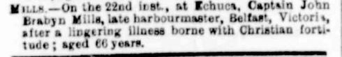 """Family Notices."" The Argus (Melbourne, Vic. : 1848 - 1957) 24 Sep 1877: .news-article5938525>."