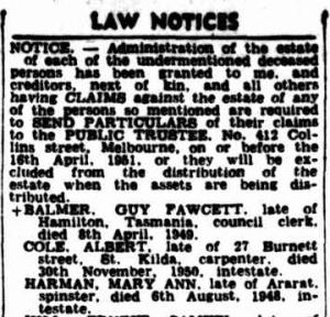 Advertising. (1951, February 8). The Argus (Melbourne, Vic. : 1848 - 1957), p. 18. Retrieved June 2, 2014, from http://nla.gov.au/nla.news-article23036219