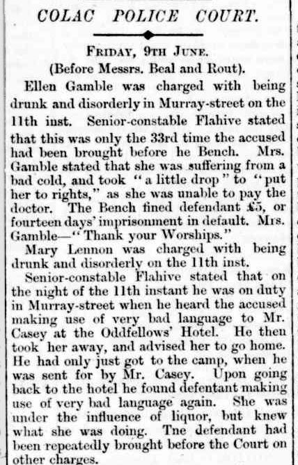 """""""COLAC POLICE COURT."""" The Colac Herald (Vic. : 1875 - 1918) 13 Jun 1876: ."""