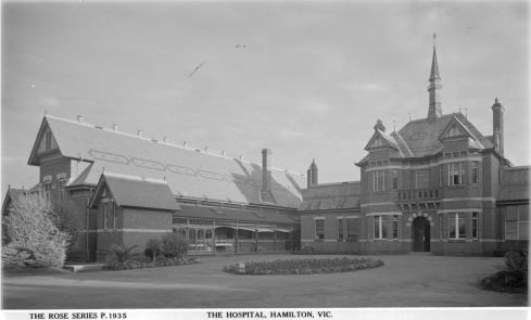 HAMILTON HOSPITAL.  Image courtesy of the State Library of Victoria, Image no. H32492/2732 , http://handle.slv.vic.gov.au/10381/63599