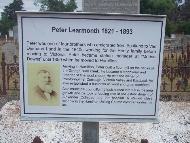 PLAQUE ON THE GRAVE OF PETER LEARMONTH, OLD HAMILTON CEMETERY