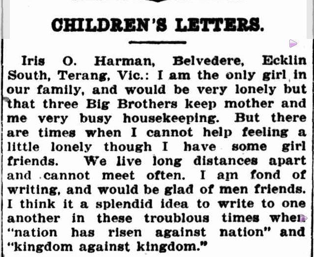 """""""CHILDREN'S LETTERS."""" The Australian Worker (Sydney, NSW : 1913 - 1950) 26 Apr 1917: 11. ."""
