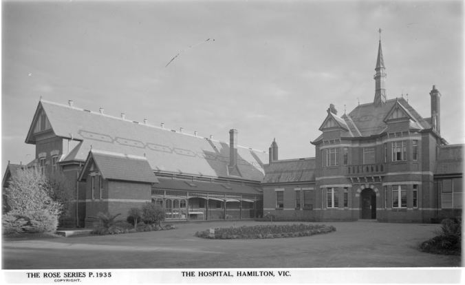 HAMILTON HOSPITAL, Image Courtesy of the State Library of Victoria, Image no. H32492/2732 http://handle.slv.vic.gov.au/10381/63599