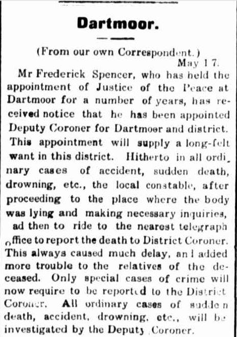 """""""Dartmoor."""" Portland Guardian (Vic. : 1876 - 1953) 22 May 1911: 3 Edition: EVENING. ."""