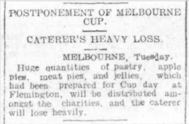 """POSTPONEMENT OF MELBOURNE CUP."" Hamilton Spectator (Vic. : 1914 - 1918) 8 Nov 1916 ."