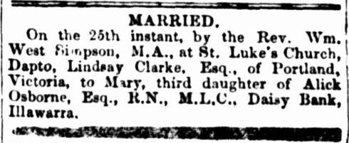 """Family Notices."" The Sydney Morning Herald (NSW : 1842 - 1954) 28 Sep 1852: 3. ."