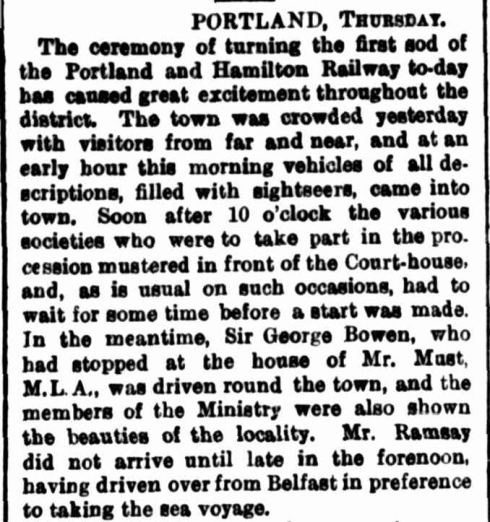 """THE GOVERNOR'S VISIT TO THE WESTERN DISTRICT."" The Argus (Melbourne, Vic. : 1848 - 1957) 28 Apr 1876: ."