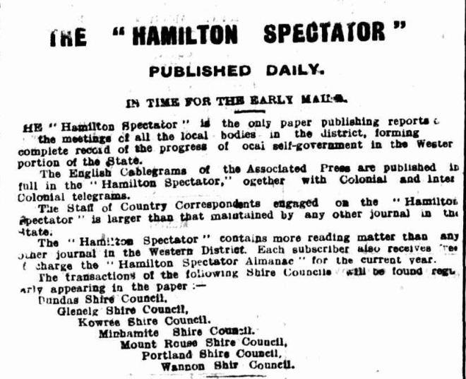 """[No heading]."" Hamilton Spectator (Vic. : 1914 - 1918) 21 Nov 1914:   http://nla.gov.au/nla.news-page13385110>."