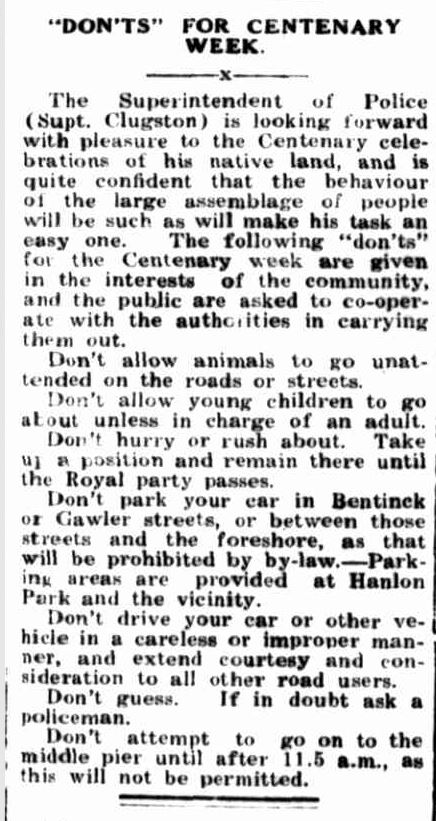 """""""""""DON'TS"""" FOR CENTENARY WEEK."""" Portland Guardian (Vic. : 1876 - 1953) 15 Oct 1934: 2 Edition: EVENING.. Web. ."""