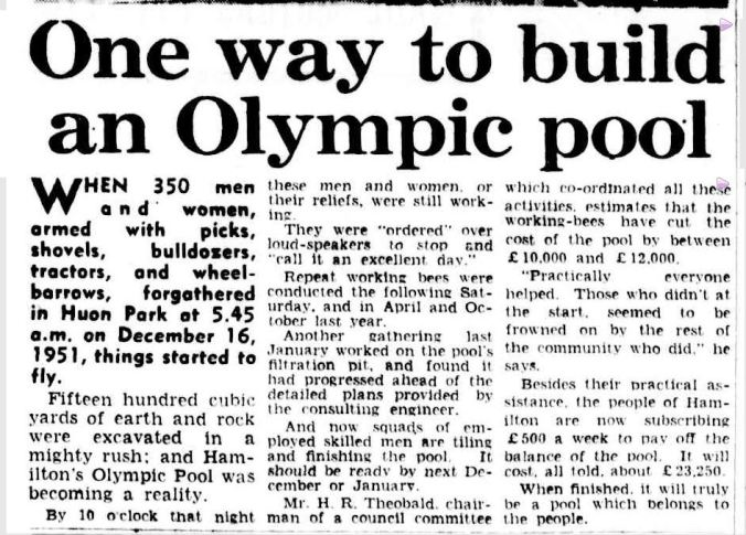 """""""One way to build an Olympic pool."""" The Argus (Melbourne, Vic. : 1848 - 1957) 21 Jul 1953: 20. ."""