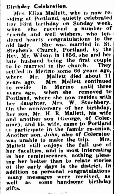 """Birthday Celebration."" Portland Guardian (Vic. : 1876 - 1953) 25 May 1931: 2 Edition: EVENING. Web. 30 Dec 2014 ."