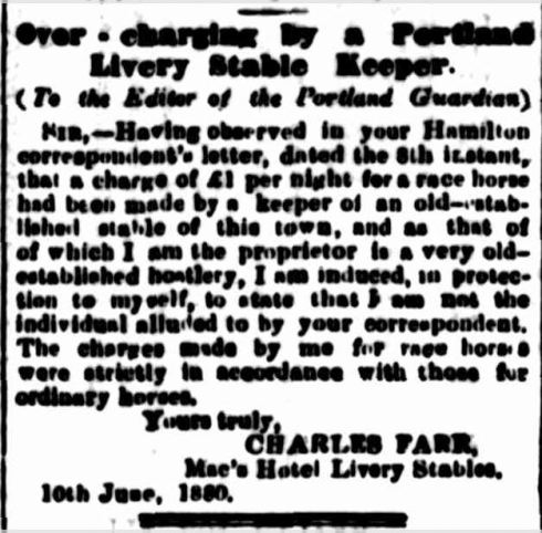 """Over - charging by a Portland Livery Stable Keeper."" Portland Guardian (Vic. : 1876 - 1953) 12 Jun 1880: 3 Edition: MORNINGS.. Web. 27 Dec 2014 ."