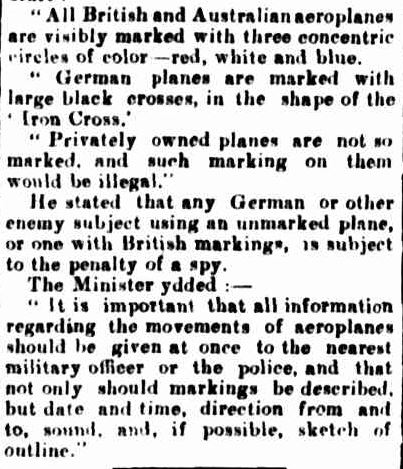"""""""The Mysterious Aeroplane."""" The Casterton News and the Merino and Sandford Record (Vic. : 1914 - 1918) 25 Apr 1918: 3 Edition: Bi-Weekly. ."""