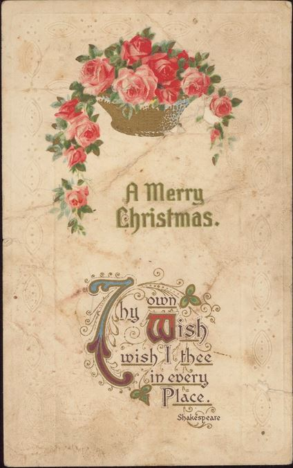 CHRISTMAS CARD 1911.  Courtesy of the State Library of Victoria.  Image no. H82.96/168 http://handle.slv.vic.gov.au/10381/110126