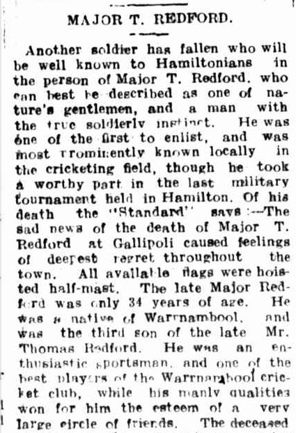 """MAJOR T. REDFORD."" Hamilton Spectator (Vic. : 1914 - 1918) 23 Aug 1915: 4. Web. 29 Jan 2015 ."