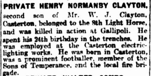 """ROLL OF HONOUR."" The Argus (Melbourne, Vic. : 1848 - 1957) 17 Sep 1915: 6. Web. 29 Jan 2015 ."