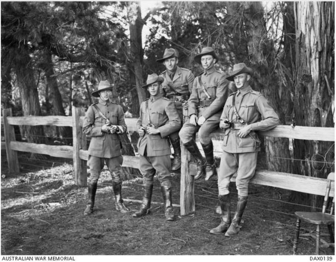 Identified from left to right: Lieutenant (Lt) Eliot Gratton Wilson from Warrnambool, Victoria; Lt Edward Ellis Henty ; unidentified; Major (Maj) Thomas Harold Redford and Lt Keith Allan Borthwick http://www.awm.gov.au/collection/DAX0139/