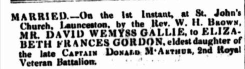 Family Notices. (1842, June 9). Launceston Advertiser (Tas. : 1829 - 1846), p. 3. Retrieved January 27, 2015, from http://nla.gov.au/nla.news-article84771074