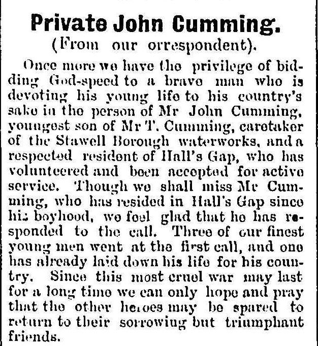 """Private John Gumming."" Stawell News and Pleasant Creek Chronicle (Vic. : 1914 - 1918) 5 Aug 1915: 2. Web. ."