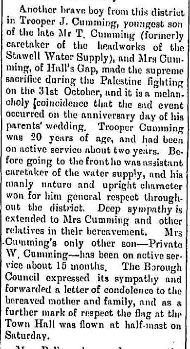 """WAR CASUALTIES."" Stawell News and Pleasant Creek Chronicle (Vic. : 1914 - 1918) 14 Nov 1917: 3. Web. ."