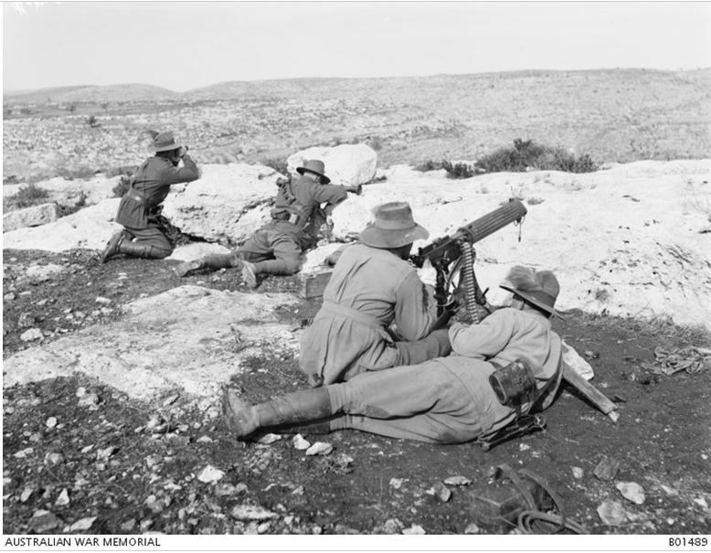 3rd Australian Light Horse Brigade Machine Gun Squadron at Khurbetha-Ibn-Harith. Image courtesy of the Australian War Memorial. Image no. B01489 https://www.awm.gov.au/collection/B01489/
