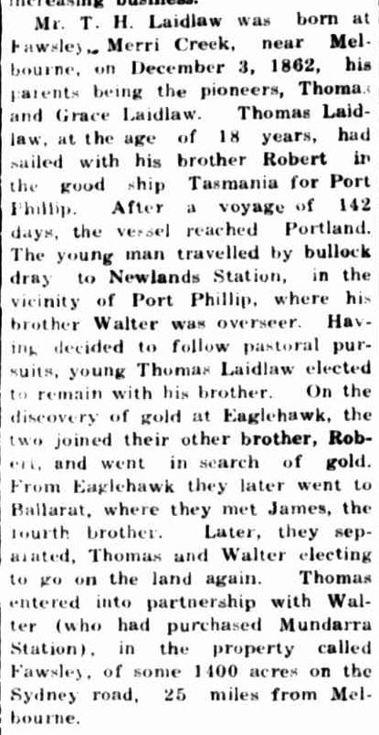 """THE LATE MR. T. H. LAIDLAW."" Portland Guardian (Vic. : 1876 - 1953) 25 Sep 1941: 2 Edition: EVENING. Web. 5 Feb 2015 ."