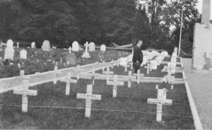 GRAVE (front left) OF WILLIAM JOHN AUSTIN AT HAREFIELD (ST. MARY) CHURCHYARD, MIDDLESEX, ENGLAND. Image courtesy of the Australian War Memorial. Image no. J00521 https://www.awm.gov.au/collection/J00521/
