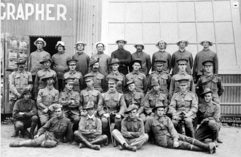 'HAMILTON BOYS' c 30 April 1915.  Photo Courtesy of the Australian War Memorial.  Image no.DAOD1060   https://www.awm.gov.au/collection/DAOD1060/
