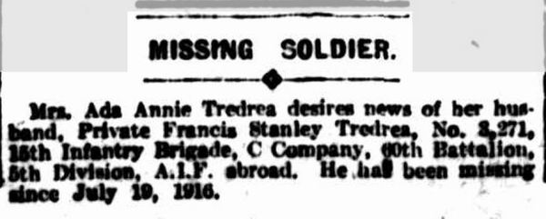 """MISSING SOLDIER."" The Argus (Melbourne, Vic. : 1848 - 1957) 5 Mar 1917: ."