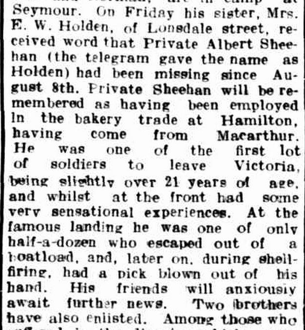 """Hamilton Spectator."" Hamilton Spectator (Vic. : 1870 - 1918) 6 Sep 1915: 4. Web. 24 Apr 2015 ."
